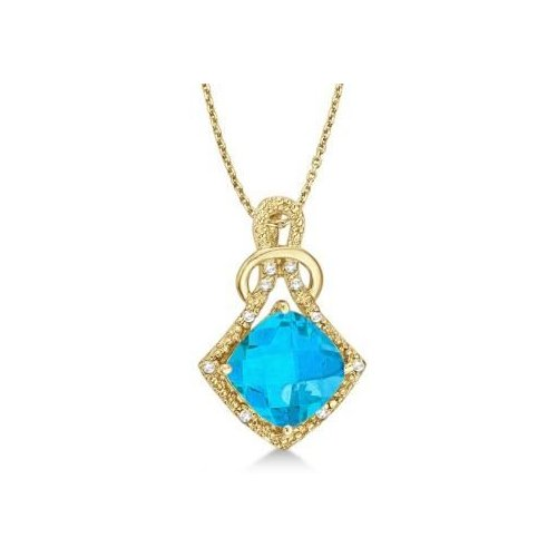 Seven Seas Jewelers Blue Topaz & Diamond Swirl Pendant Necklace 14k Yellow Gold (4.05ct) by Brand New