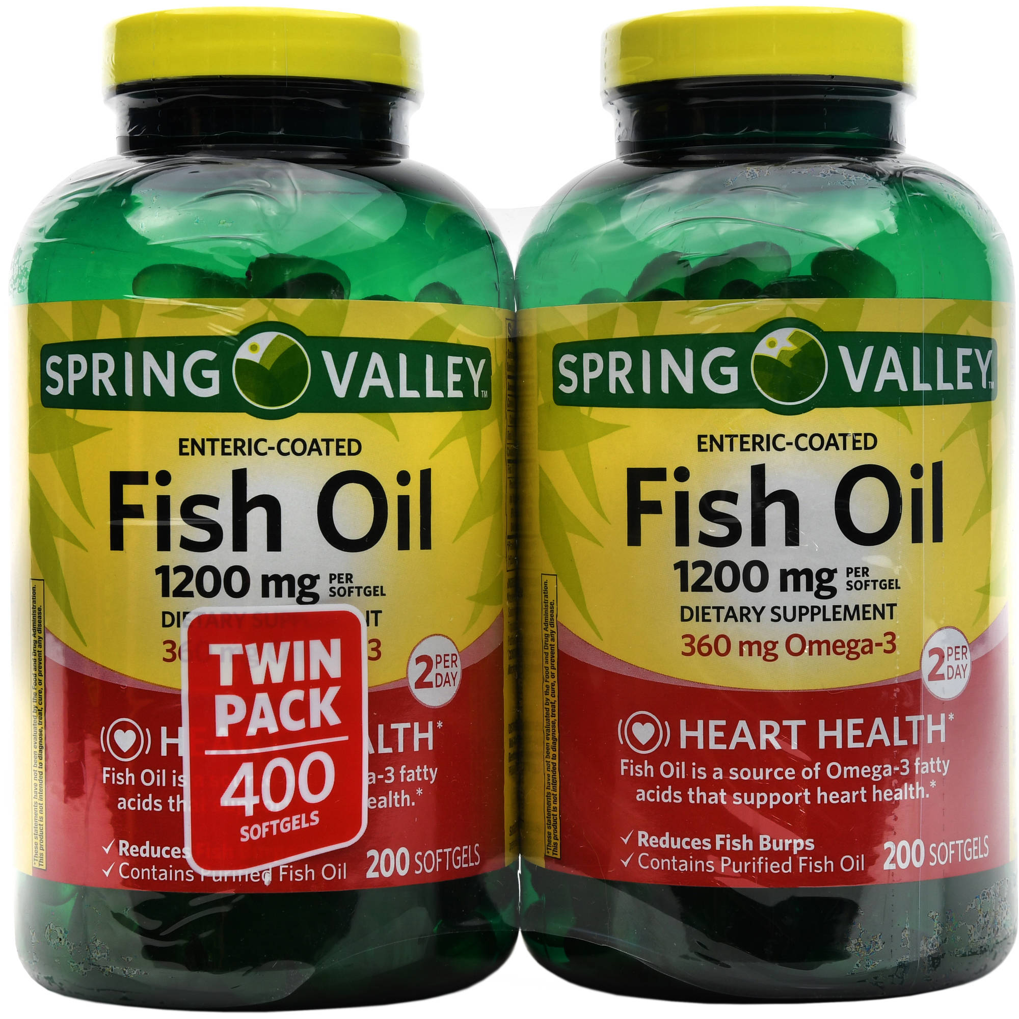 Spring Valley Fish Oil Dietary Supplement Softgels, 1200mg, 200 count, (Pack of 2)