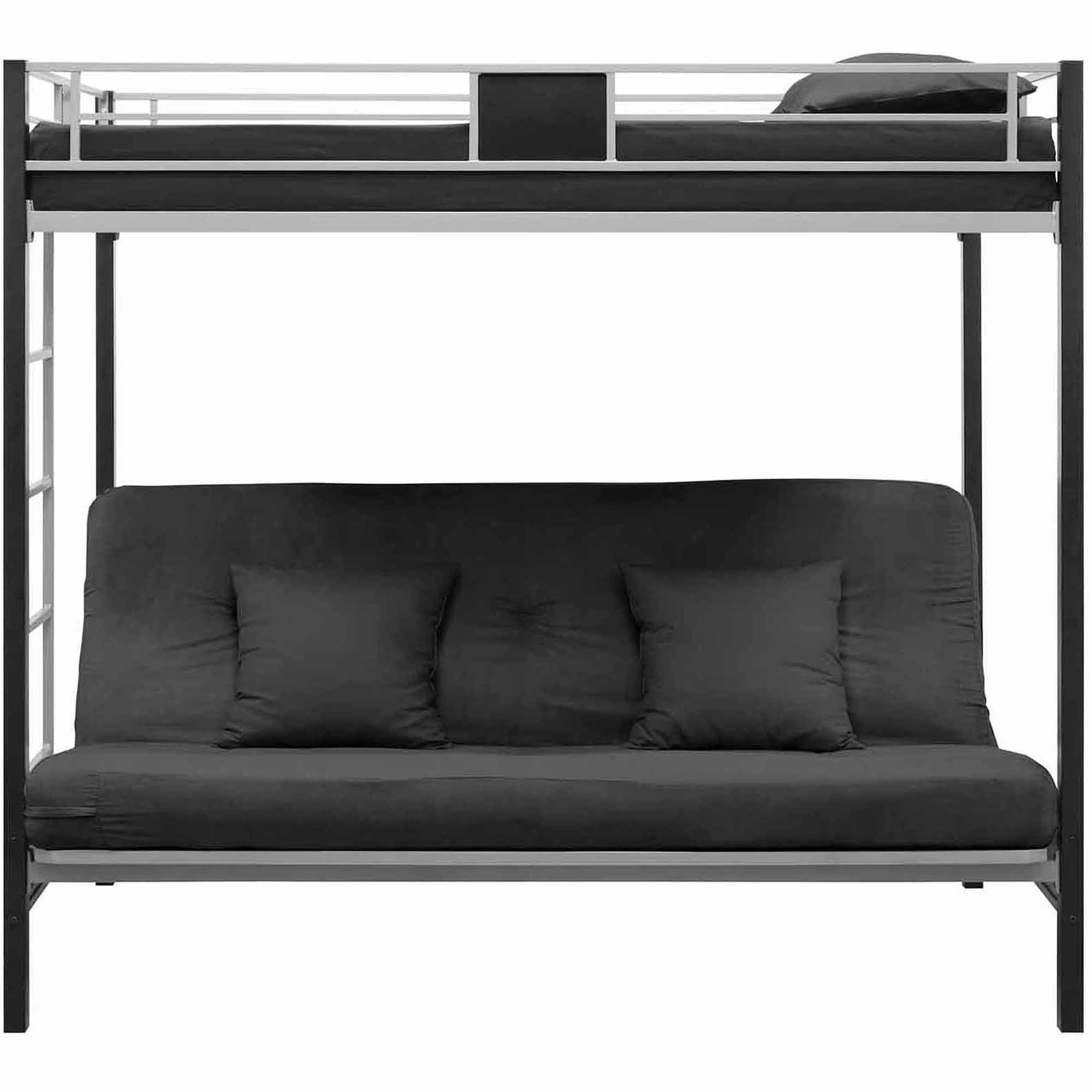 DHP Silver Screen Twin Over Futon Metal Bunk Bed SilverBlack