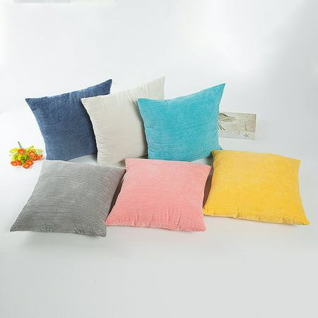 Simple Solid Color Comfortable Corduroy Decorative Square Throw Pillow Cover without (Sky Blue Corduroy)