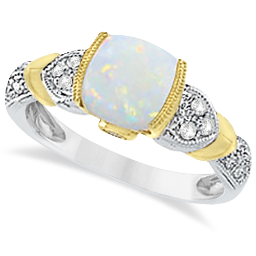 Tanzanite Diamond And Opal Ring 14k Two-Tone Gold (1.10ct) by