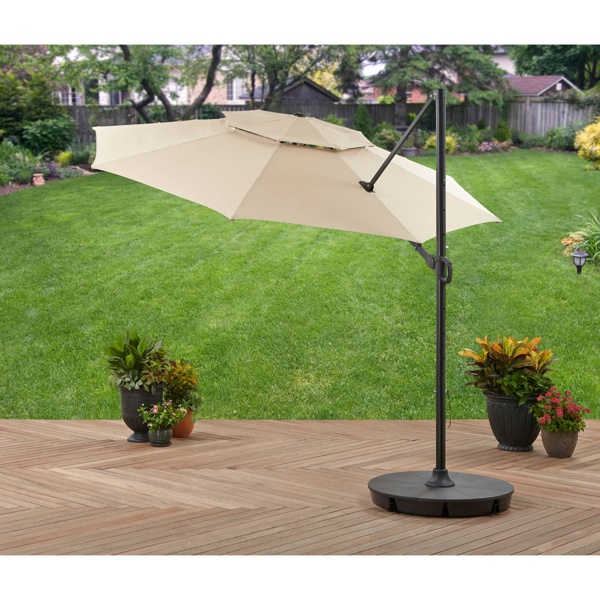 Better Homes and Gardens 11' Offset Umbrella with Base, Tan