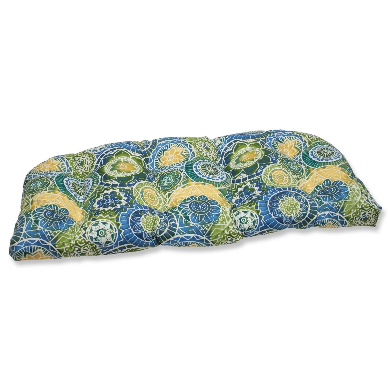 "44"" Laguna Mosaico Blue, Green and Yellow Outdoor Patio Tufted Wicker Loveseat Cushion"