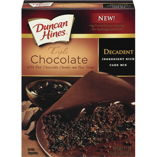 Duncan Hines Decadent Triple Chocolate W/Real Chocolate Chunks & Real Fudge Cake Mix 21 Oz Box