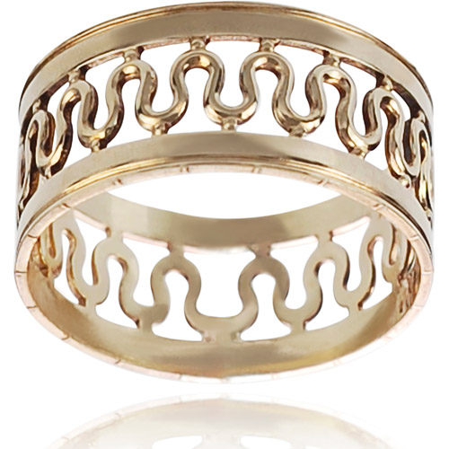 Brinley Co. Women's Sterling Silver Center Wave Band, 8mm