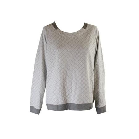 Alfani  Grey Long-Sleeve Quilted-Print Pajama Top XS