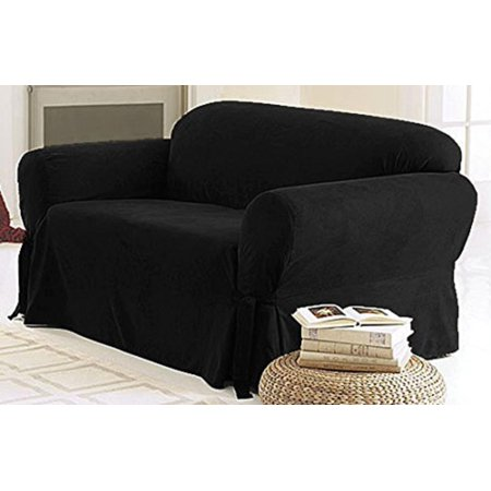 Chezmoi Collection Soft Micro Suede Solid Couch/Sofa Cover Slipcover with Elastic Band Under Seat Cushion, Black, 100% Polyester By Green Living Group Black Microsuede Racing Seat