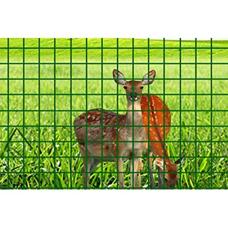 (V Protek 11 Gauge 5ft-Hx98ft-L PVC Coated Wire Mesh Fence Poultry Netting Gutter Guards Backyard Rabbit Fencing, 2.4 Opening , Garden Green)
