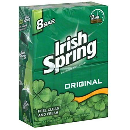 Irish Spring Original Deodrant Soap Unisex Soap, 3.75 Oz Bars, 8-Count