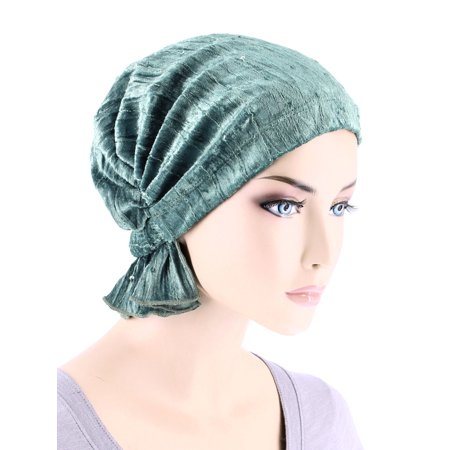 Turban Plus The Abbey Cap ® Womens Chemo Hat Beanie Scarf Turban for Cancer Stretch Velour Sequin Mystic Sage