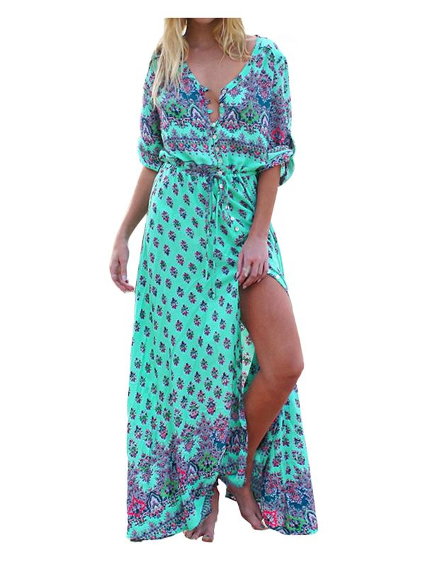 Womens Dresses V-Neck Front Open Vintage Floral Long Sexy