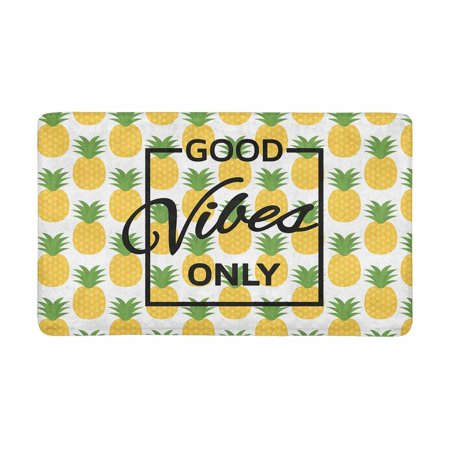 MKHERT Motivational Quote Good Vibes Only with Summer Pineapples Doormat Rug Home Decor Floor Mat Bath Mat 30x18 inch ()