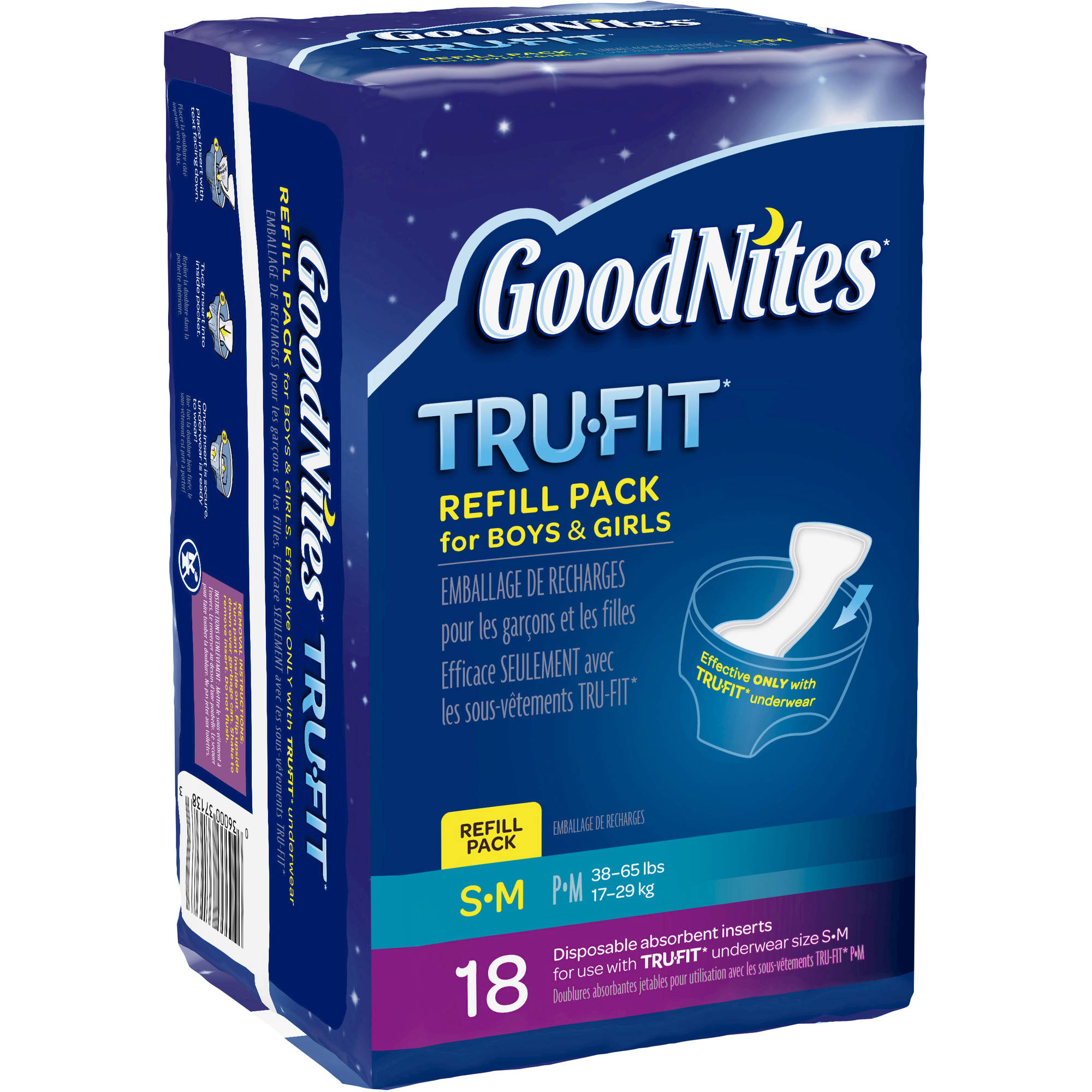 GoodNites TRU-FIT Disposable Absorbent Inserts for Boys & Girls Refill Pack, (Choose Your Size)