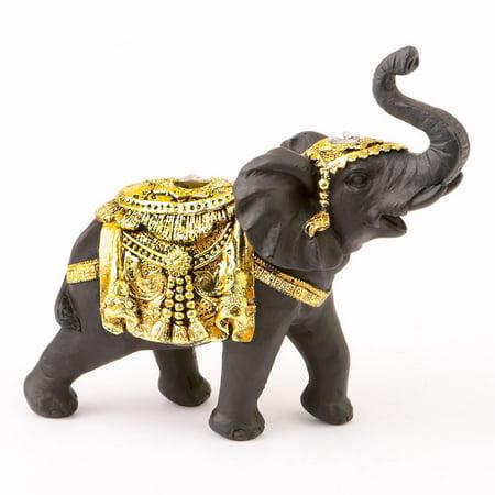 1 Ebony with gold accents elephant - medium size
