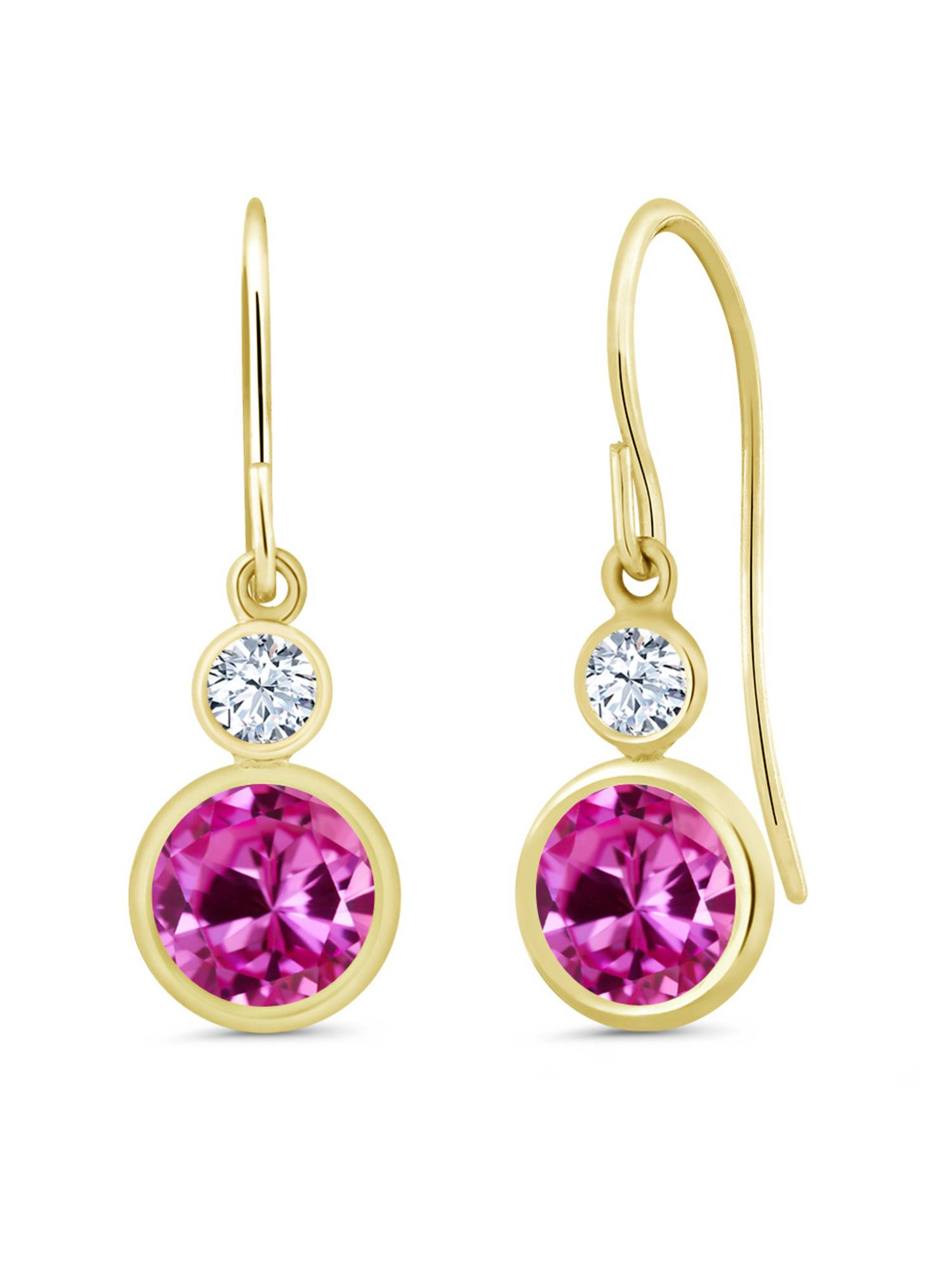 2.26 Ct Pink Created Sapphire White Created Sapphire 14K Yellow Gold Earrings by