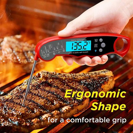 Instant Read Meat Thermometer - Best Waterproof Ultra Fast Thermometer with Backlight & Calibration. Kizen Digital Food Thermometer for Kitchen, Outdoor Cooking, BBQ, and