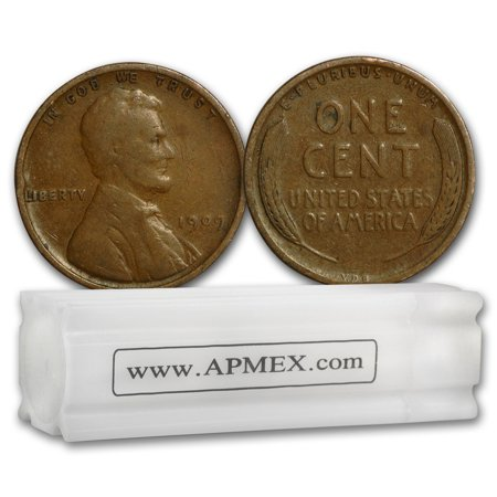 1909 VDB Lincoln Cent 50-Coin Roll Good/VF (Euro 50 Cent Coin)