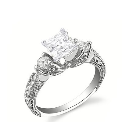 Perfect Antique Affordable Engagement Ring 0.50 Carat Princess Cut Diamond on Gold by JeenJewels