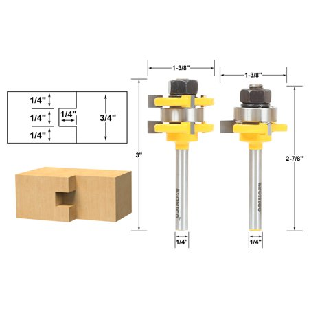 Tongue and Groove Router Bit Set 1/4