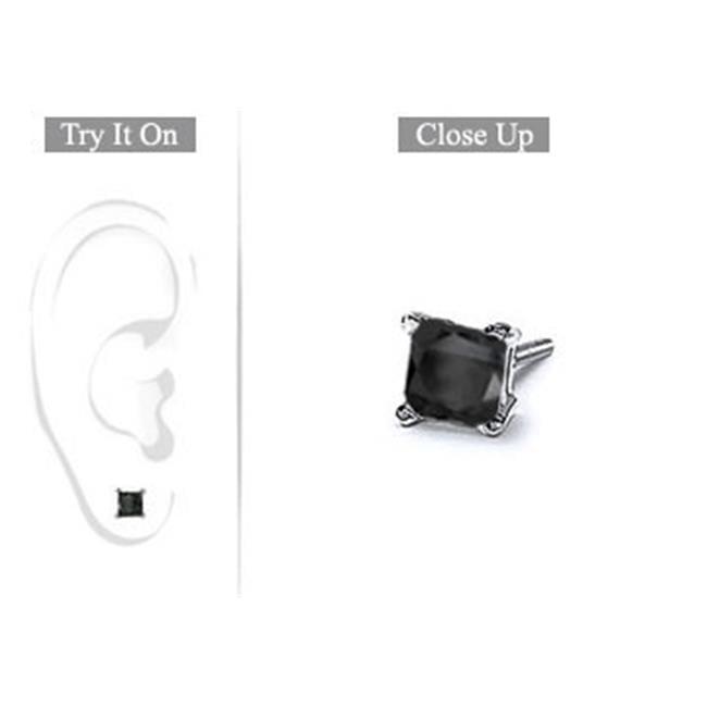 Fine Jewelry Vault UBMER14WHSQ100BD Mens 14K White Gold- Princess Cut Black Diamond Stud Earring - 1. 00 CT.  TW.
