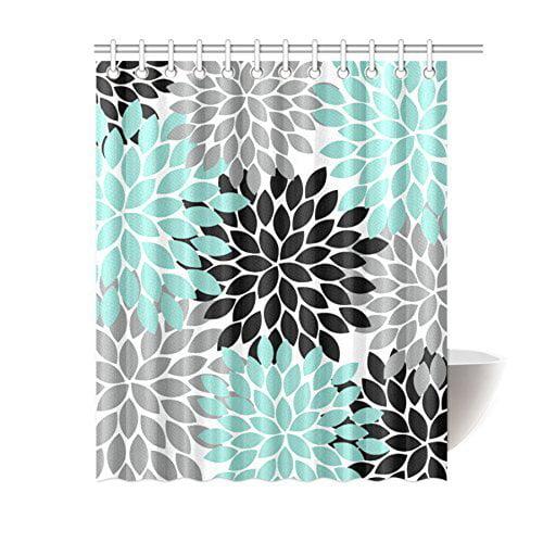Greendecor Black Grey Green Dahlia Floral Waterproof Shower Curtain