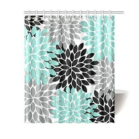 GreenDecor Black Grey Green Dahlia Floral Waterproof Shower Curtain