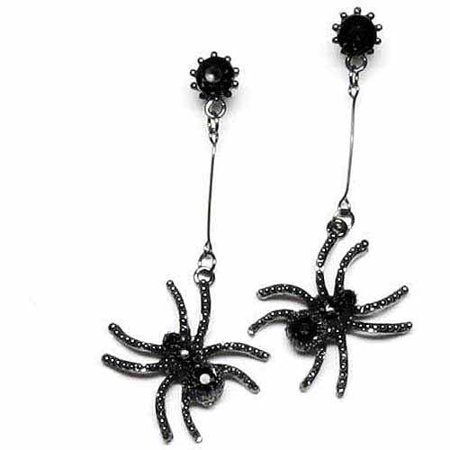 Spider Earrings Adult Halloween Costume - Big Black Halloween Spiders