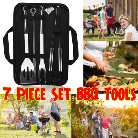 Image of 7 PCS BBQ Handle Tools Set Kit Case Stainless Steel Grill Cooking Outdoor Utensils With Oxford Bag Includes Gripper,Fork,Shovel & Steel Sticks