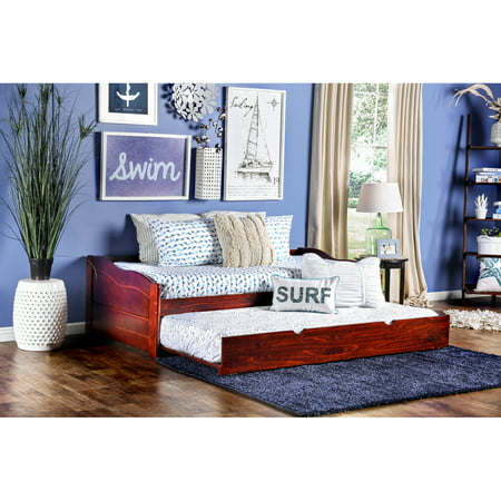 Furniture of America Terin Twin Daybed with Trundle, Multiple Colors (Da Vinci Cherry Daybed)