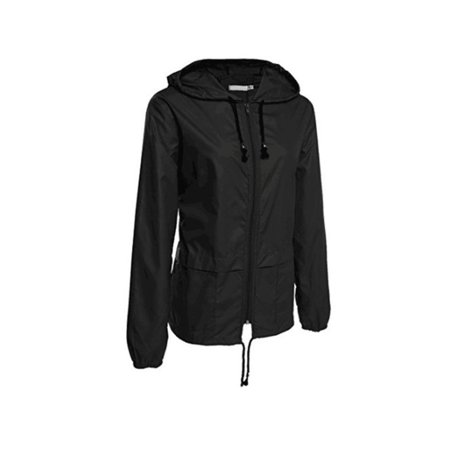Women Wind/Waterproof Jacket Outdoor Motorcycle Bicycle Rain Coat Hooded (Bonfire Women Jackets)