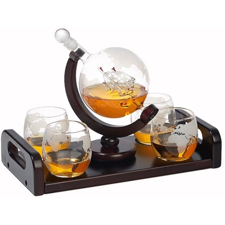 Elegant Whiskey Decanter Set - Etched Globe Design with 4 Matching Glasses Wooden Handle on Tray - Impressive Bar Set