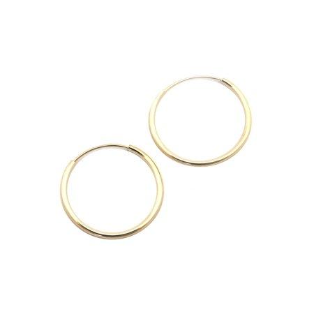 14k Yellow or White Gold 1mm Endless Hoop Earrings 14k 1mm Hoop Earrings