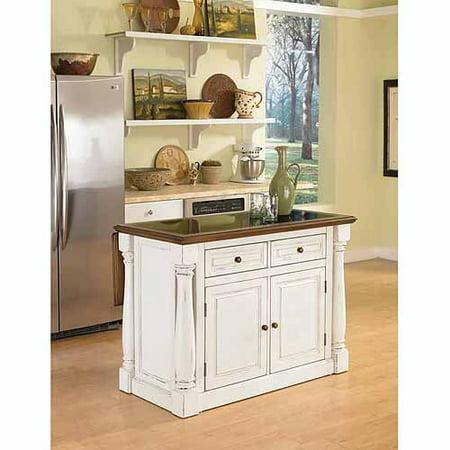 Home Styles Monarch Antiqued White Kitchen Island