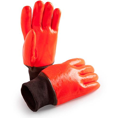 Hands On Fleece and Foam Lined Florecent Orange PVC Dipped Glove. Extra Long Nylon Knitwrist.