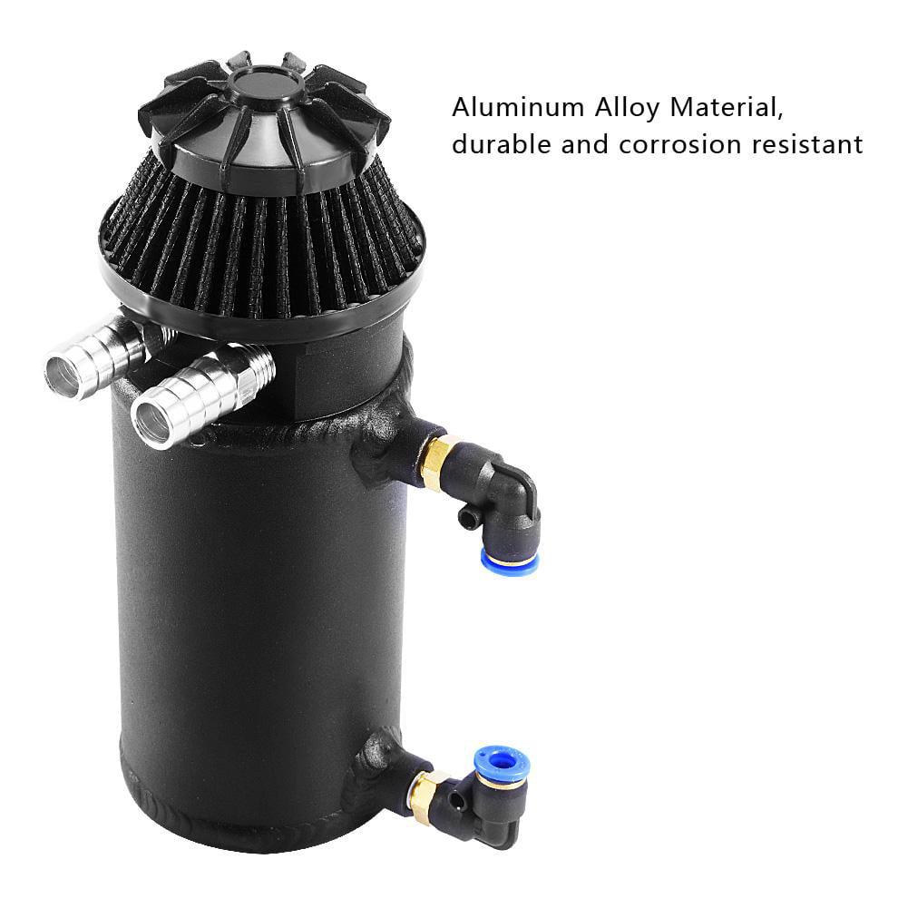 WALFRONT Black Universal Car Oil Reservoir Catch Can Tank Kit Breather Filter Baffled Aluminum,Oil Catch Tank,Oil Catch Can - image 5 of 8