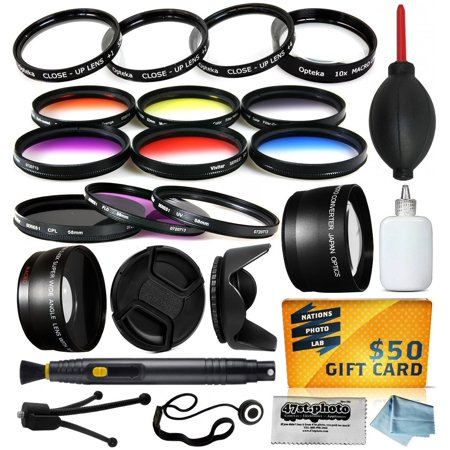 58mm Pro Lenses Filters Kit includes 0.43x + 2.2x Lens, UV, CPL, Warming,6 Piece Color Filter, Macro Close Up Set, Lens Hood and more for Canon EF 28-105mm 28-80mm 28-90mm II USM