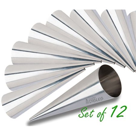 Lady lock forms by CiE Set of 12 Stainless Steel Pastry, Cream Horn Molds. Free Standing Cone -
