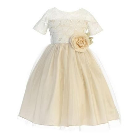 Little Girls Champagne Spring Jasmine Lace Tulle Easter Dress - Spring Dresses Girls
