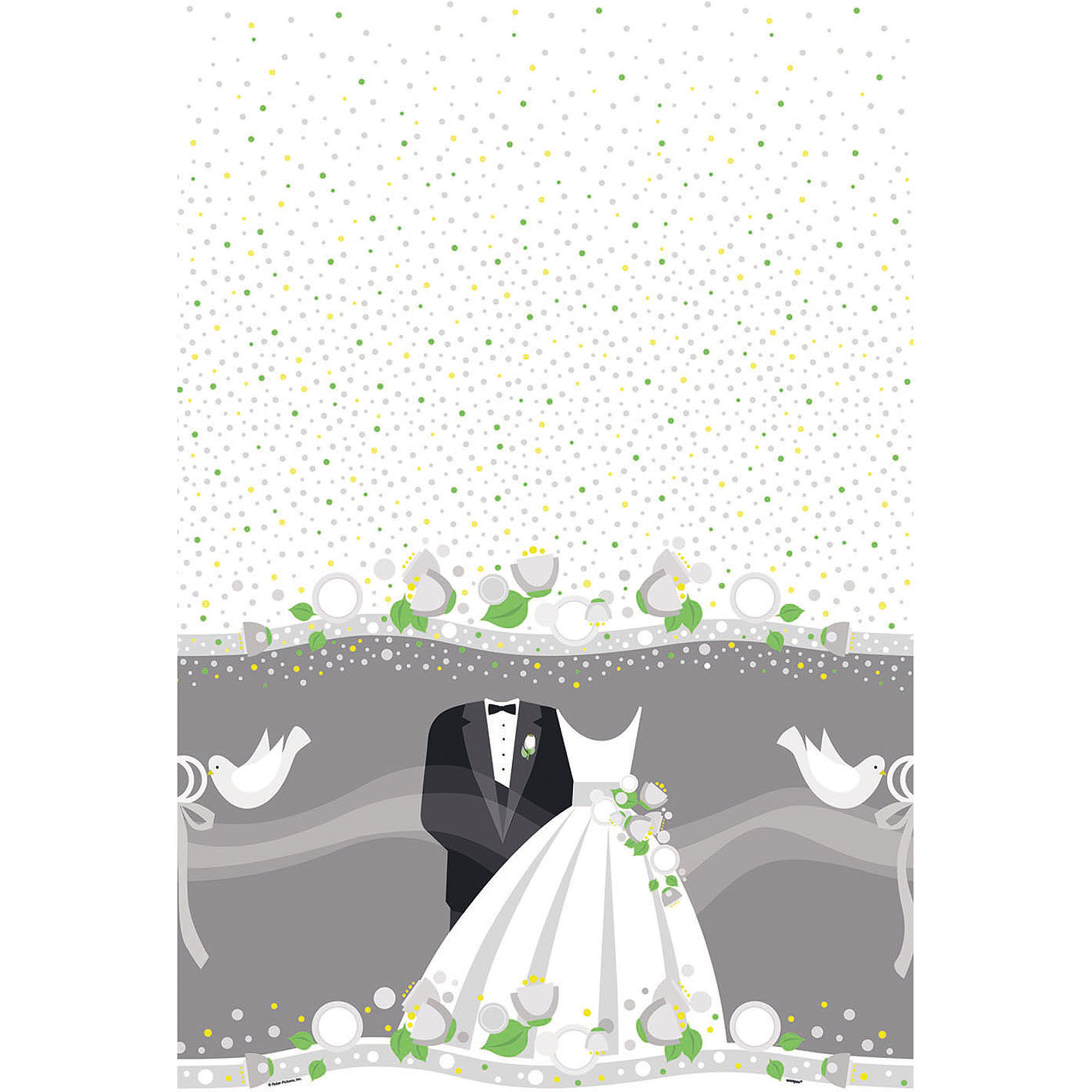 Silver Wedding Plastic Tablecloth, 84 x 54 in, 1ct
