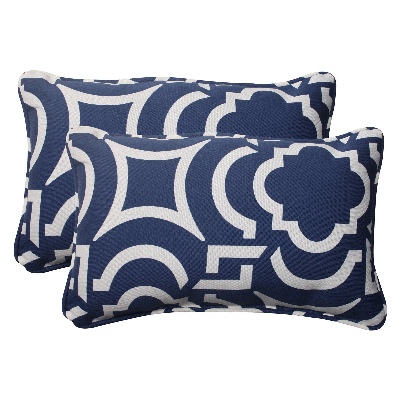 Pillow Perfect Outdoor/ Indoor Carmody Navy Rectangle Throw Pillow (Set of 2)
