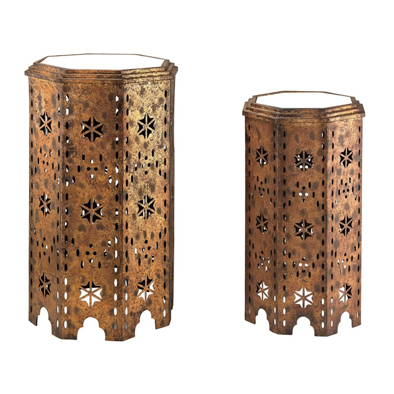 Sterling Set Of 2 Moroccan Side Table With Mirrored Tops 138-135/S2