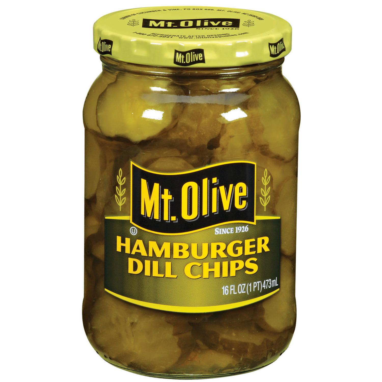 Mt. Olive Hamburger Dill Chips Pickles 16 fl. oz. Jar
