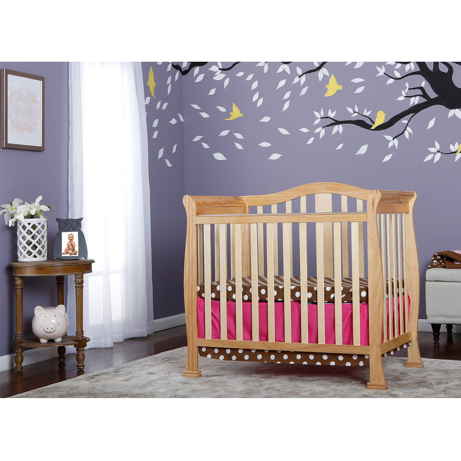 Dream On Me Naples 4-in-1 Convertible Mini Crib, Natural