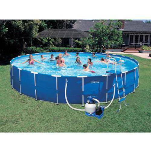 "Intex 24' x 52"" Metal Frame Above Ground Swimming Pool with Sand Filter Pump Combo"