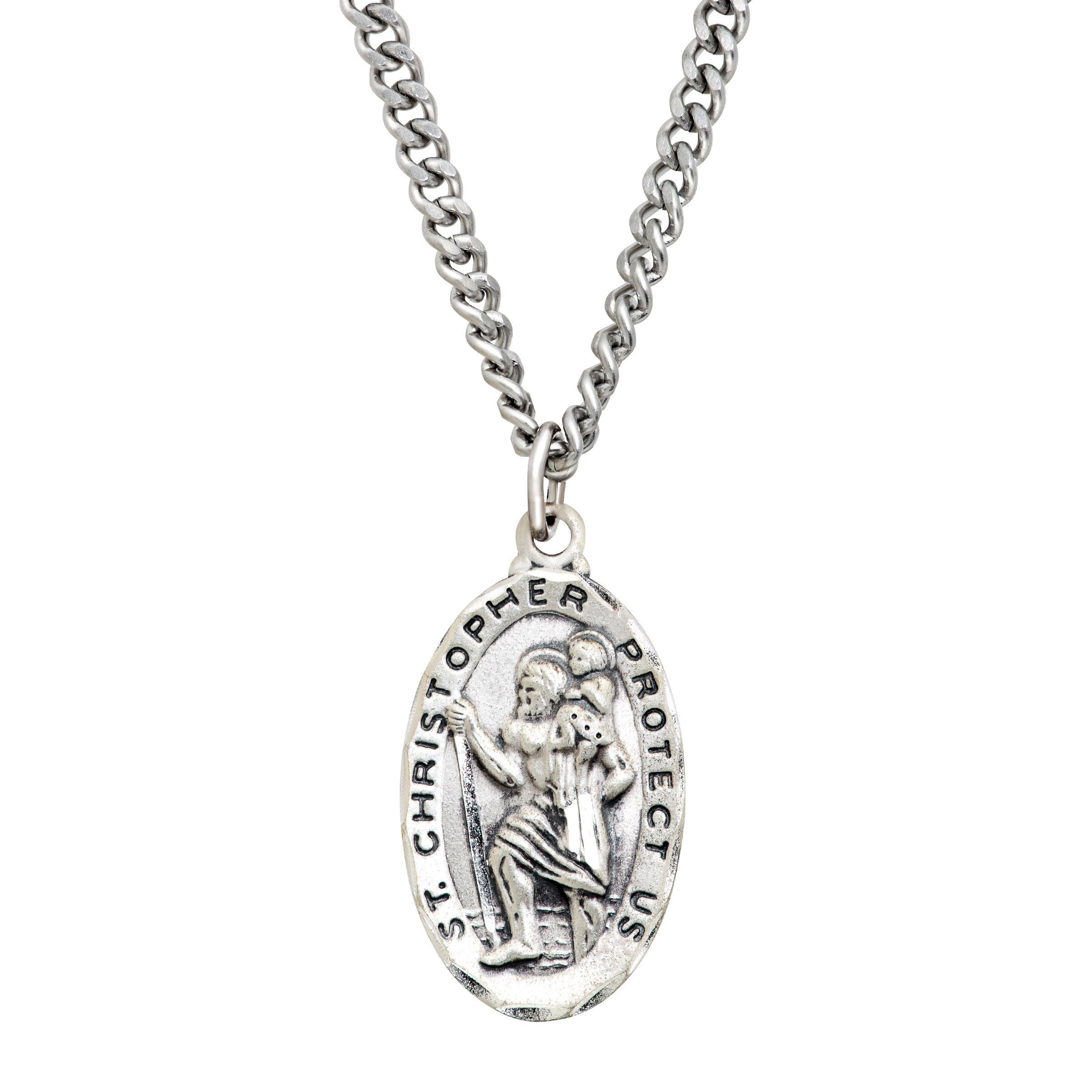 St. Christopher Medallion Necklace in Sterling Silver & Stainless Steel
