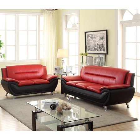 Jasmine 2pc Living room set-Black & Red - Walmart.com
