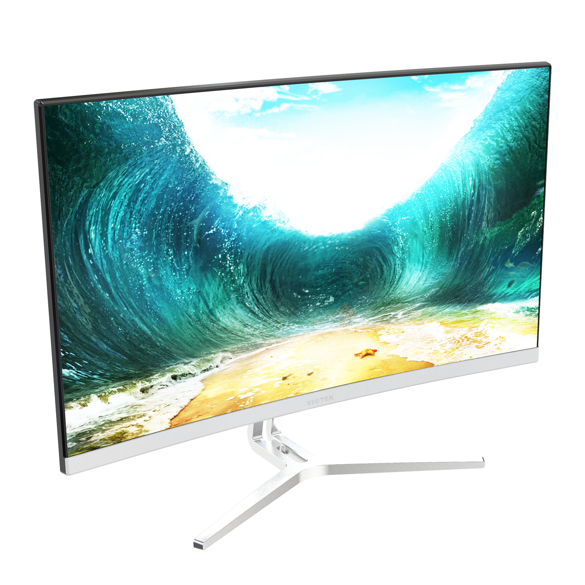 VIOTEK NB24CB 24-inch Curved Monitor with Speakers, Bezel-less, 75Hz 1080P FreeSync VGA HDMI VESA - Xbox Ready