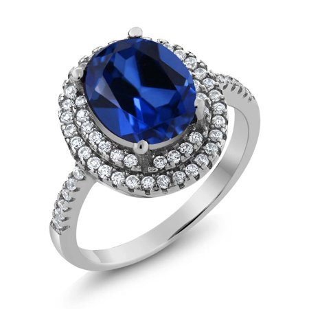 4.60 Ct Oval Blue Simulated Sapphire 925 Sterling Silver Ring