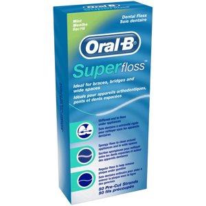 Oral-B Super Dental Floss Pre-Cut Strands Mint 50 Count