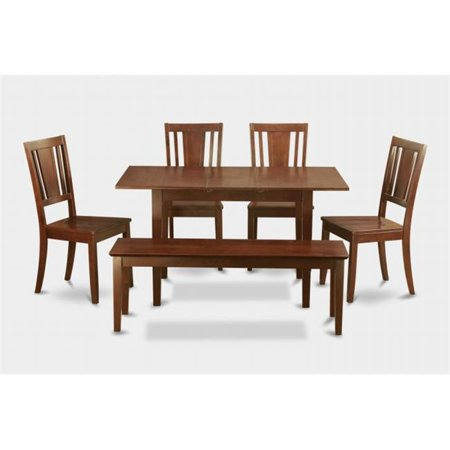 - East West Furniture NODU6C-MAH-W Norfolk 6PC Set with rectangular table featured 12 in Butterfly Leaf and 4 wood seat chairs plus one 51-in Long bench